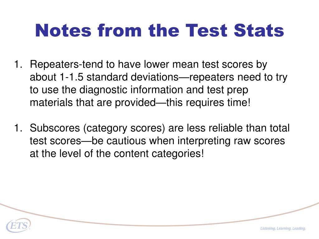 Notes from the Test Stats