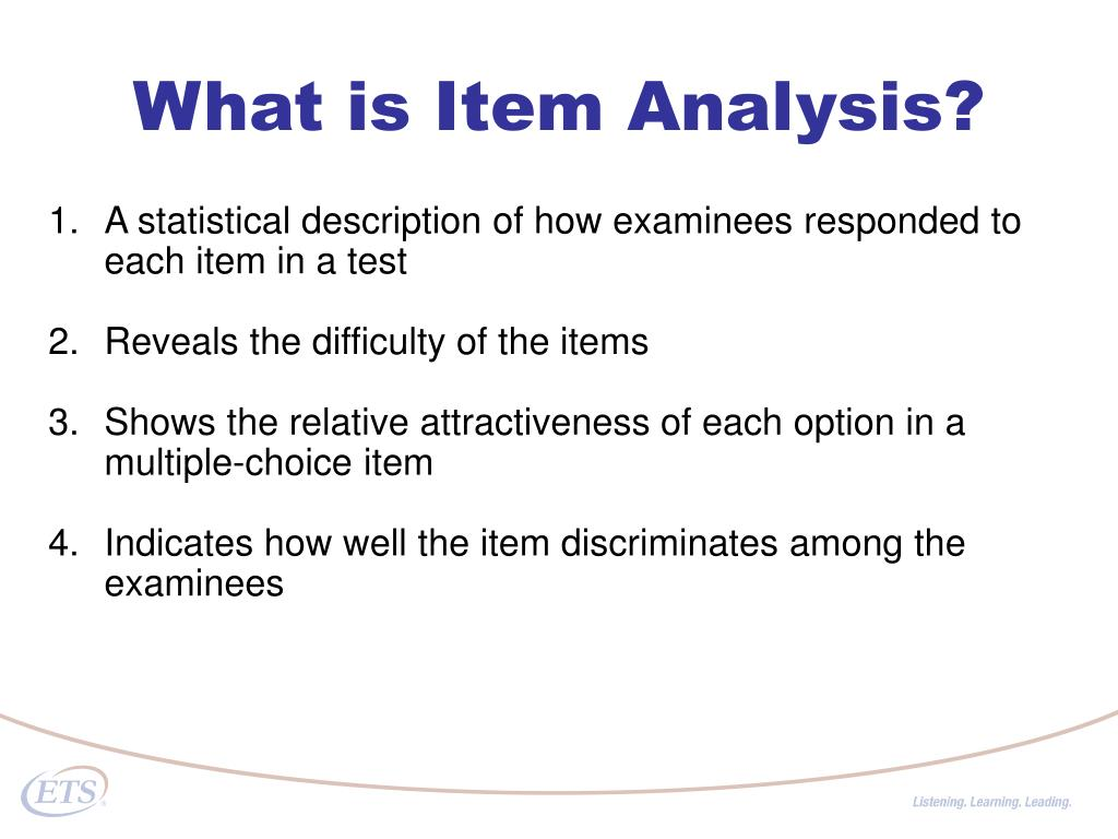 What is Item Analysis?