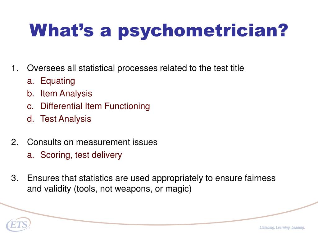 What's a psychometrician?