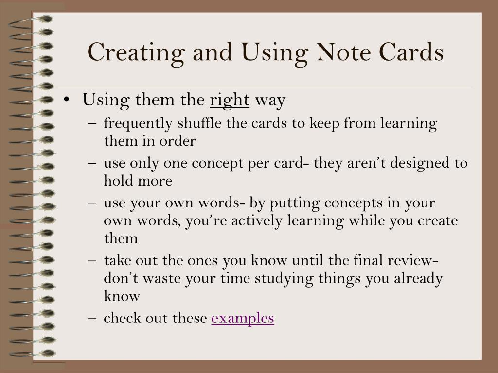 Creating and Using Note Cards