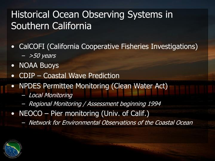 Historical Ocean Observing Systems in Southern California