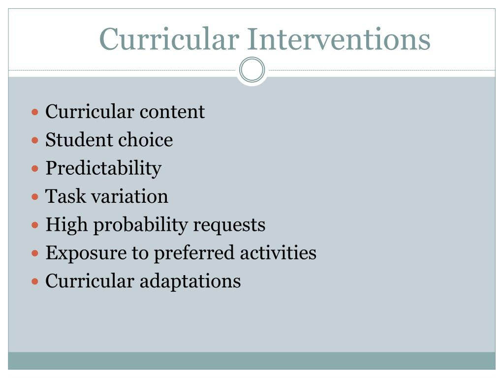 Curricular Interventions