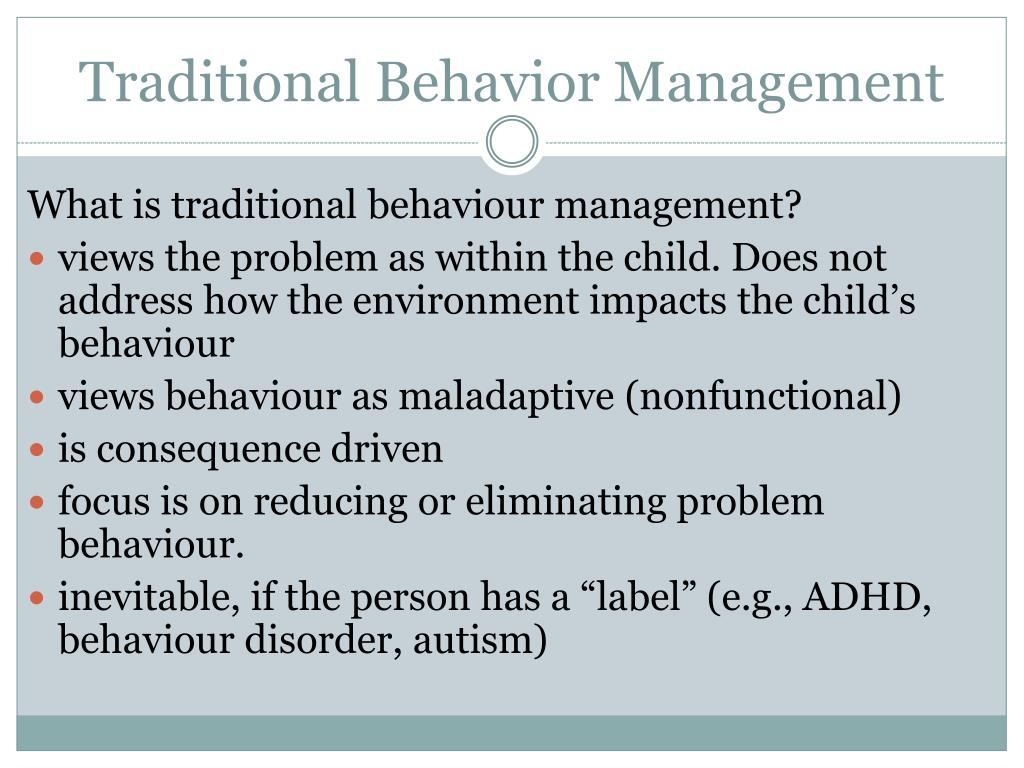 Traditional Behavior Management