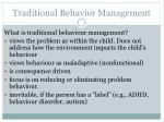 traditional behavior management