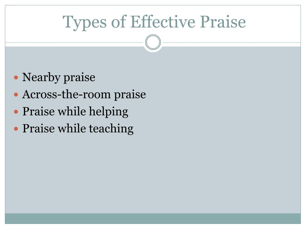 Types of Effective Praise