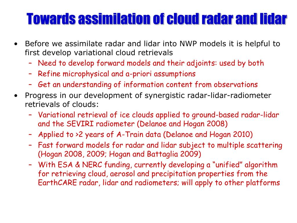Towards assimilation of cloud radar and