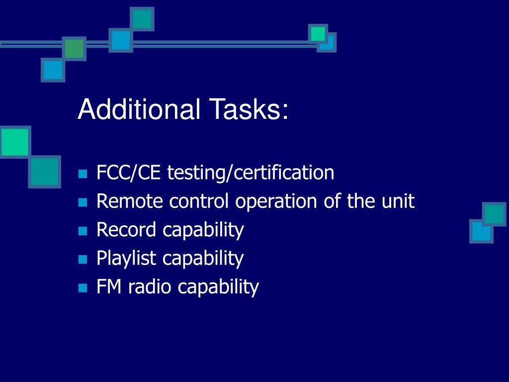 Additional Tasks:
