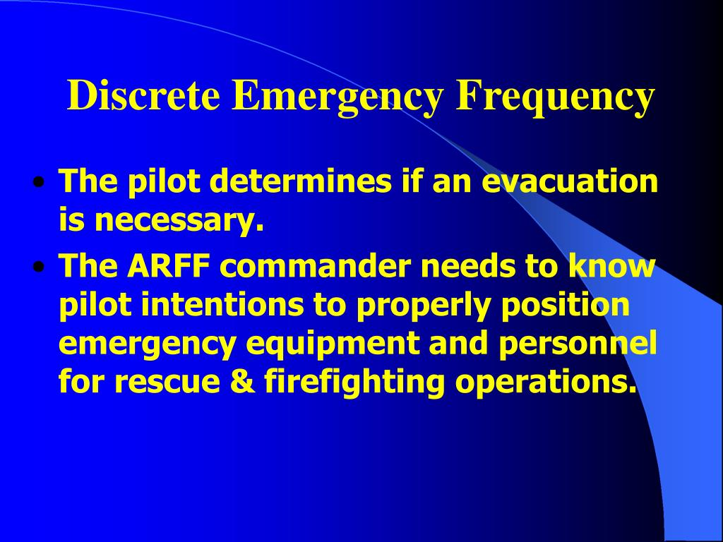 Discrete Emergency Frequency