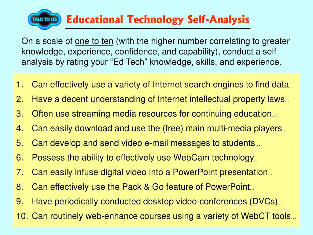 Educational Technology Self-Analysis