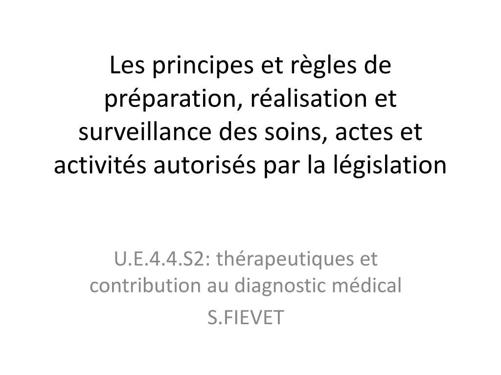 Les principes et règles de préparation, réalisation et surveillance des soins, actes et activités autorisés par la législation