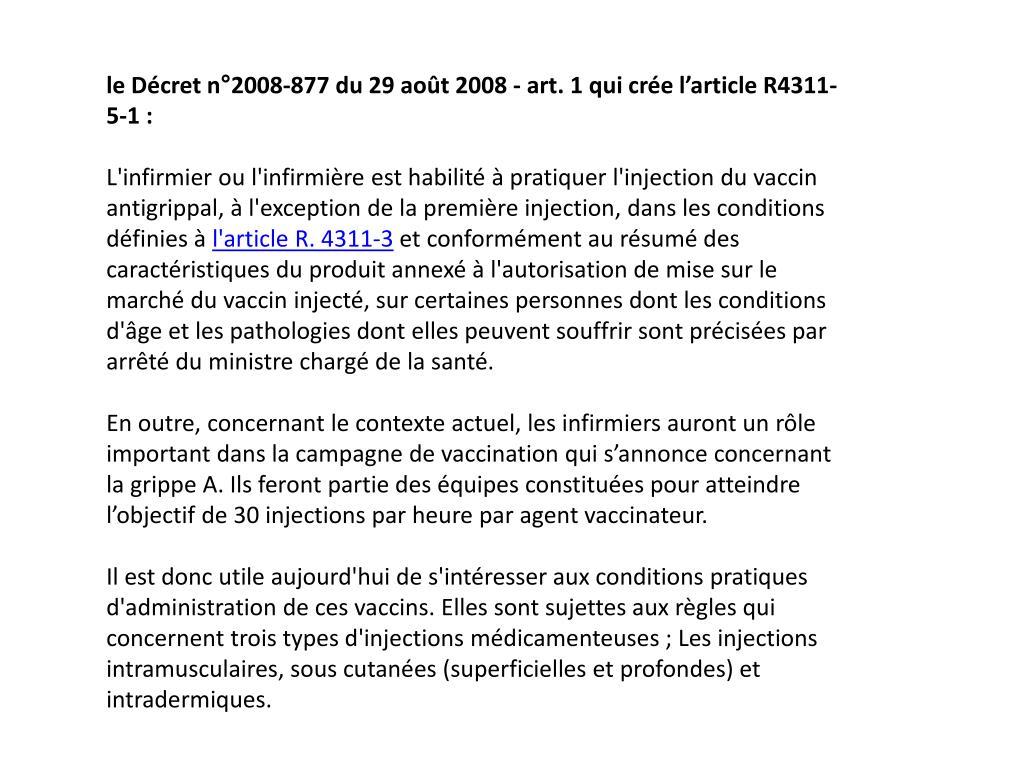 le Décret n°2008-877 du 29 août 2008 - art. 1 qui crée l'article R4311-5-1: