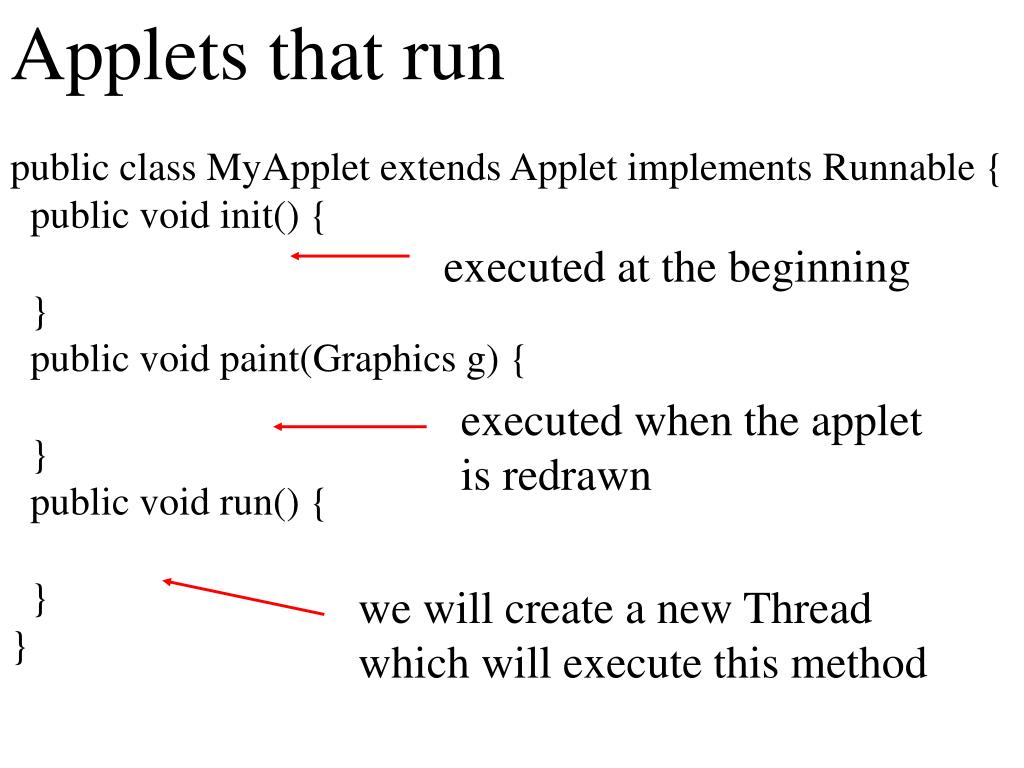 Applets that run