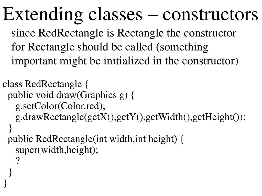 Extending classes – constructors