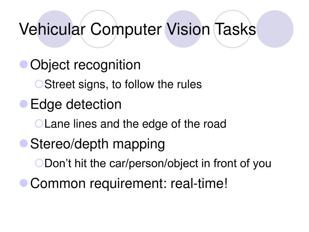 Vehicular Computer Vision Tasks