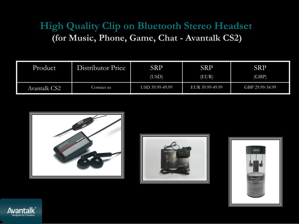 High Quality Clip on Bluetooth Stereo Headset