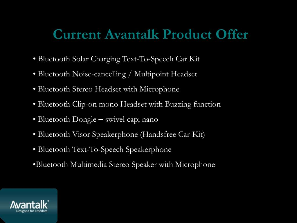 Current Avantalk Product Offer