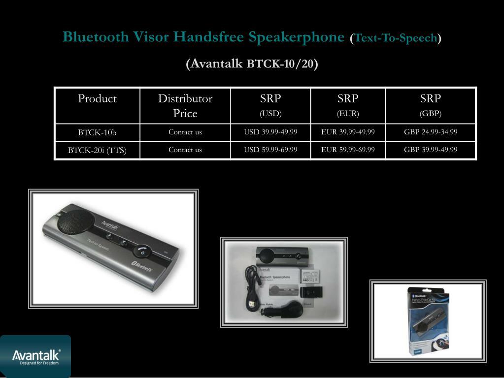 Bluetooth Visor Handsfree Speakerphone