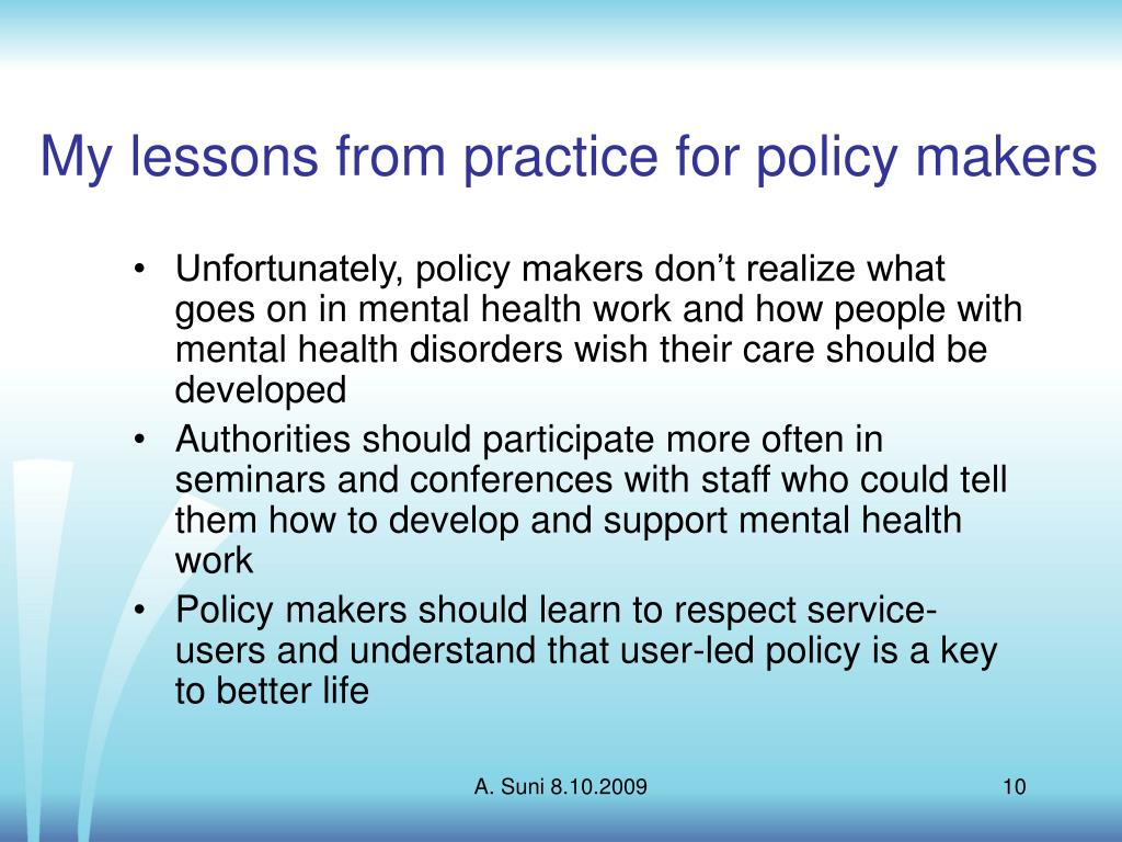 My lessons from practice for policy makers