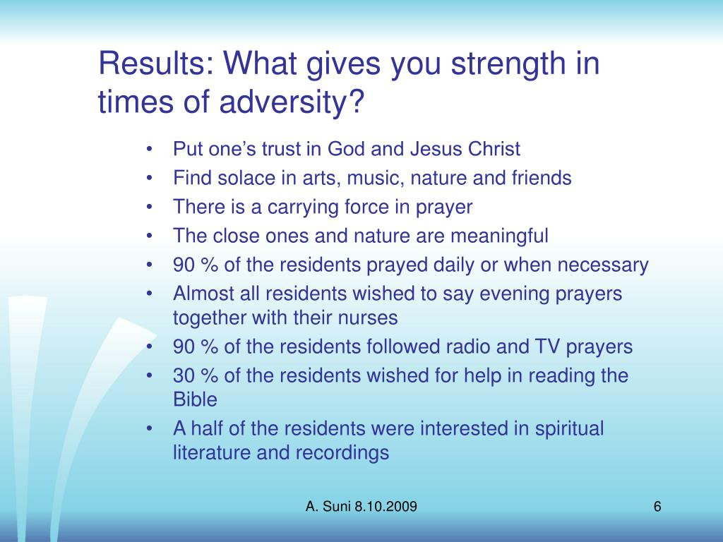 Results: What gives you strength in times of adversity