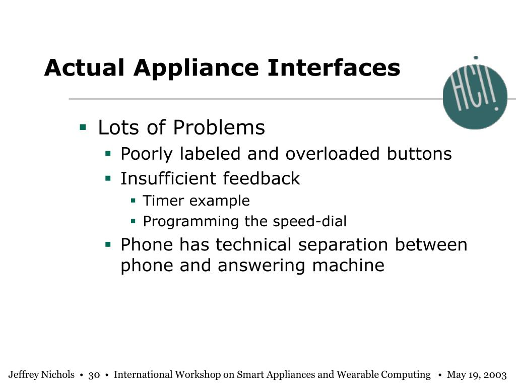 Actual Appliance Interfaces