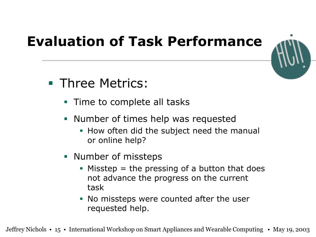 Evaluation of Task Performance