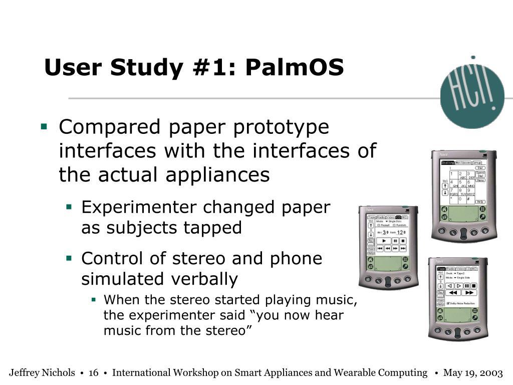 User Study #1: PalmOS