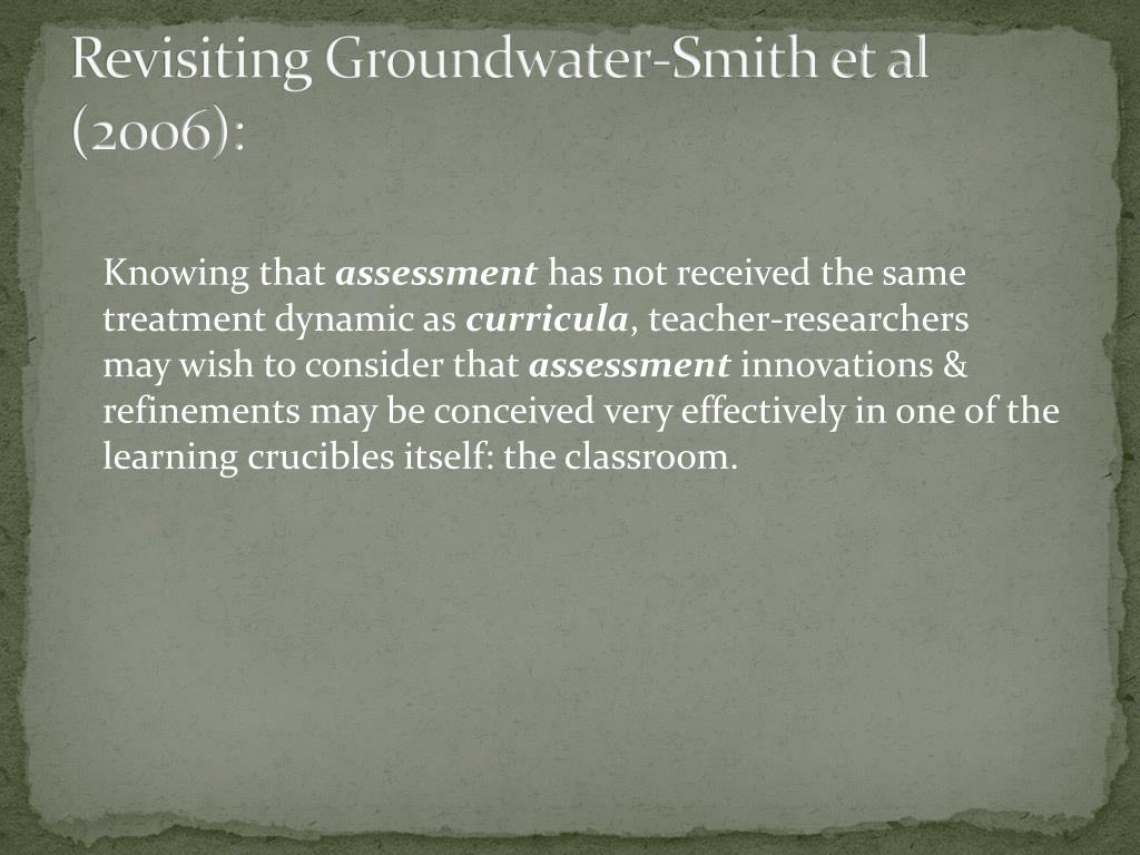 Revisiting Groundwater-Smith et al (2006):
