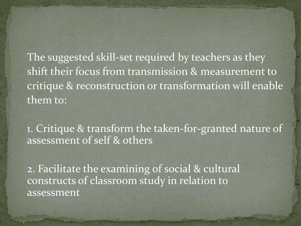 The suggested skill-set required by teachers as they