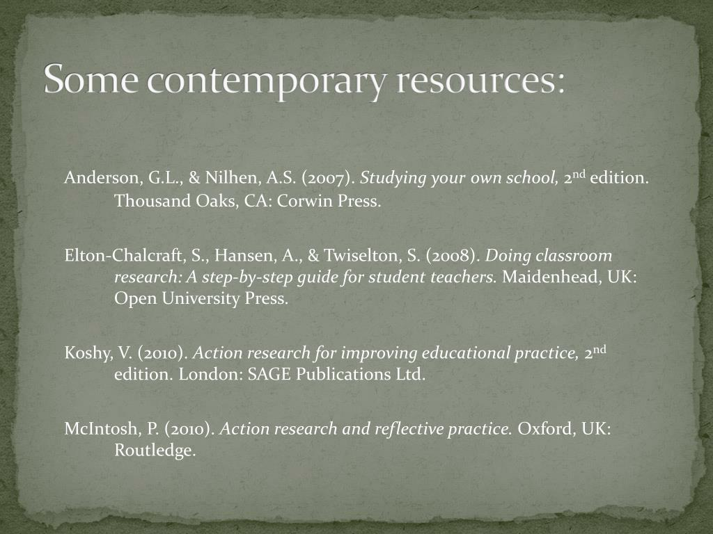 Some contemporary resources: