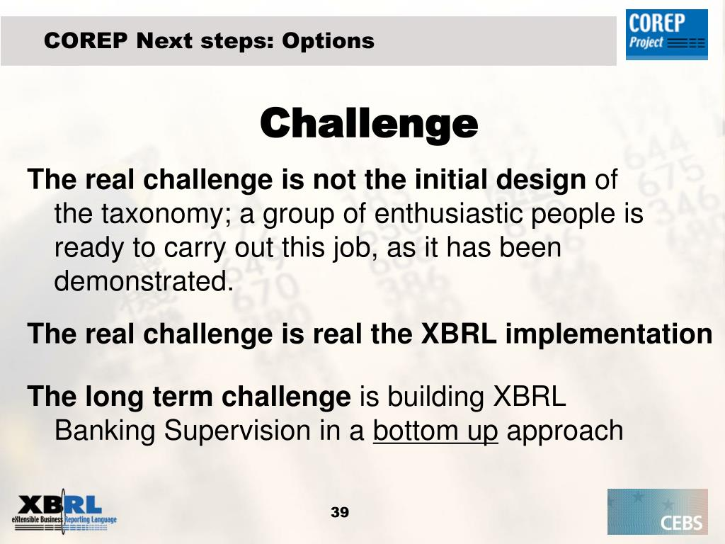 COREP Next steps: Options