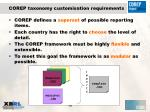 corep taxonomy customisation requirements