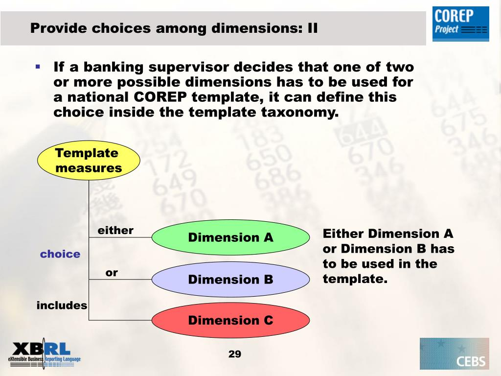 Provide choices among dimensions: II