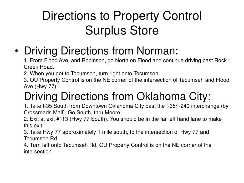 Directions to Property Control