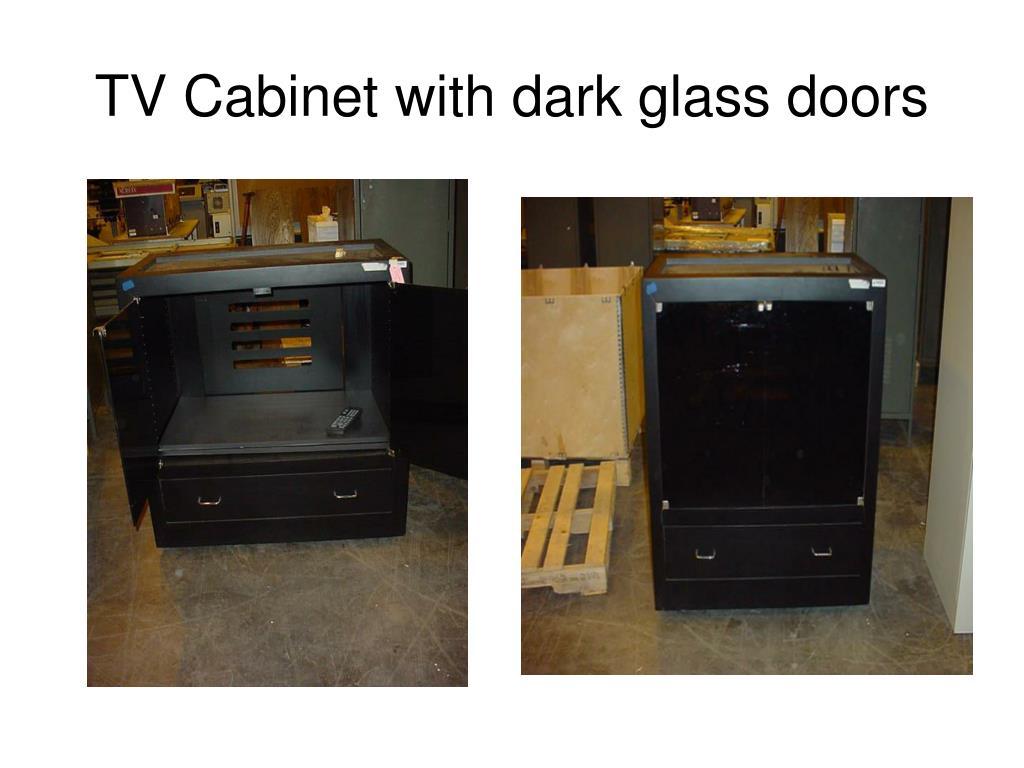 TV Cabinet with dark glass doors