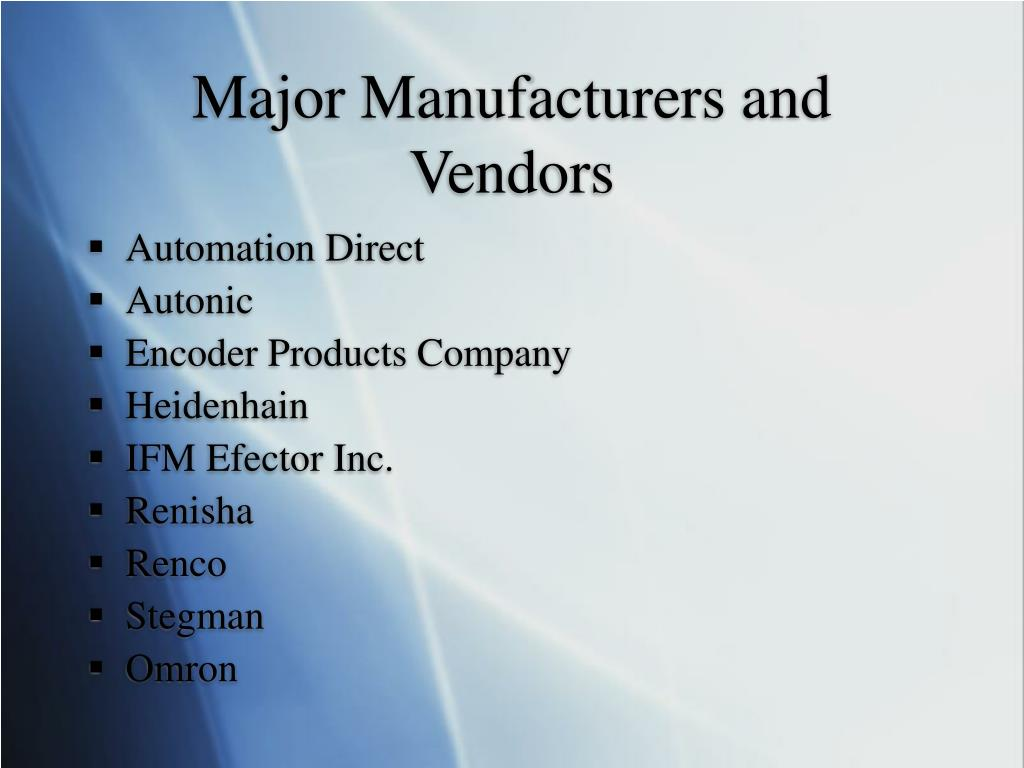 Major Manufacturers and Vendors