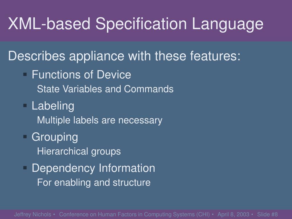 XML-based Specification Language