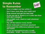 simple rules to remember