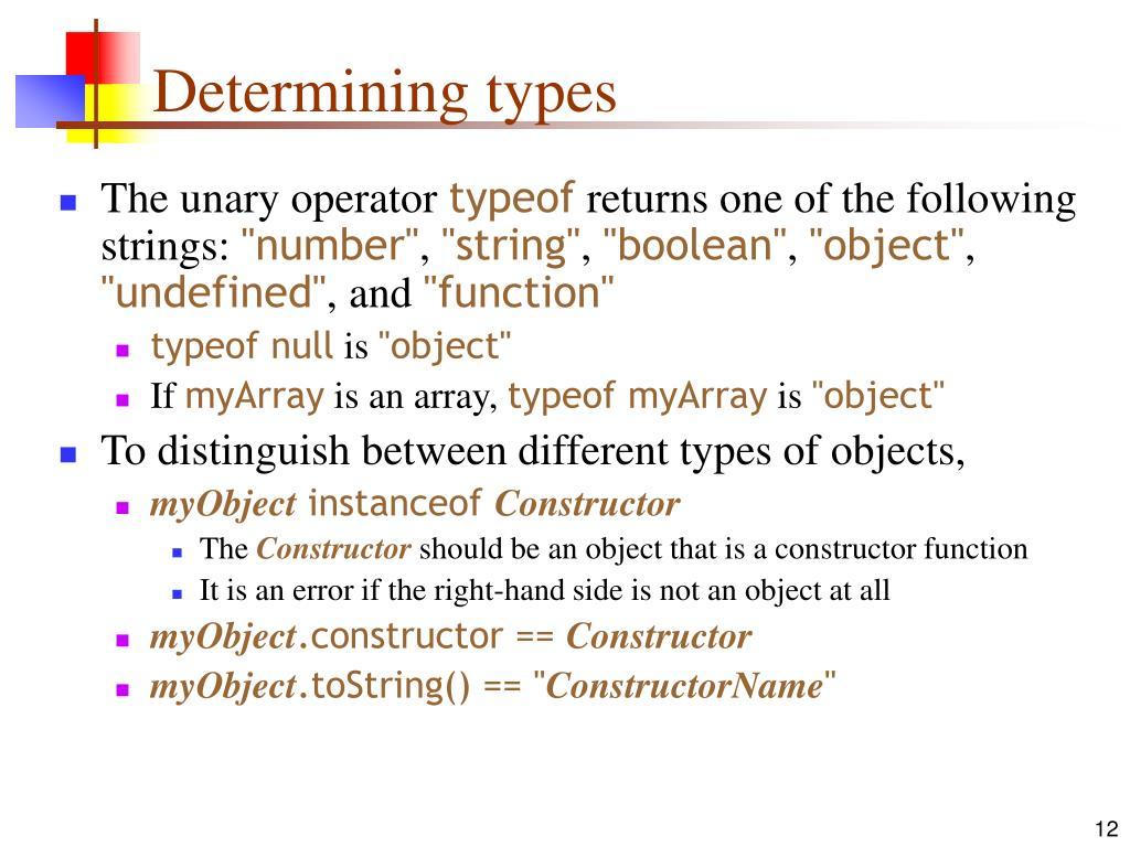 Determining types
