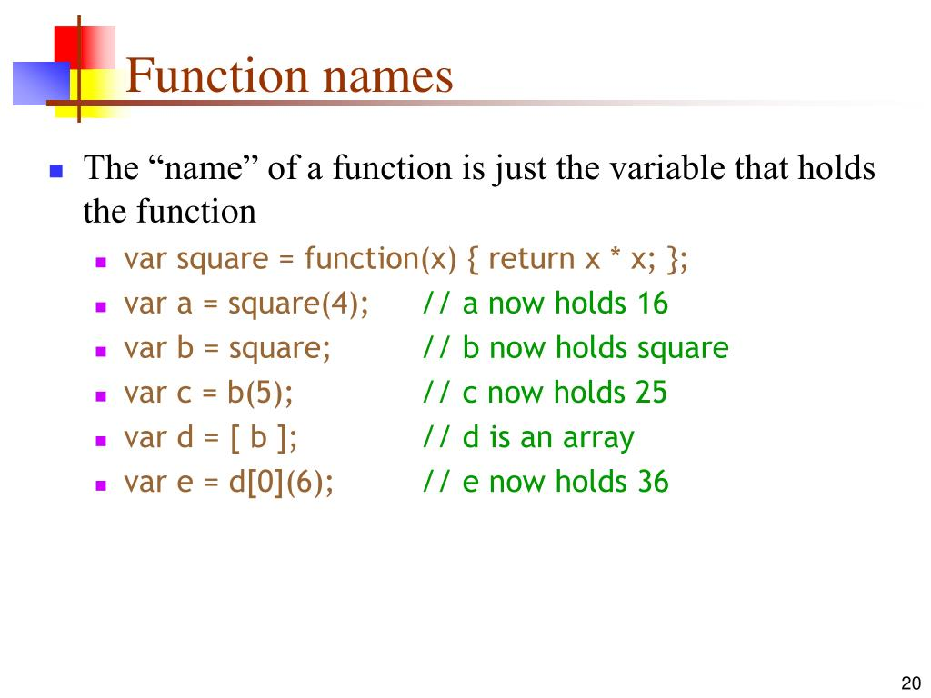 Function names