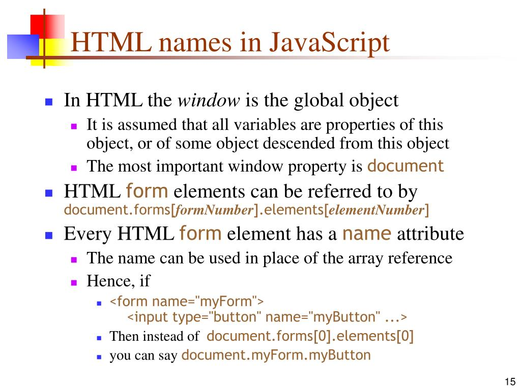 HTML names in JavaScript