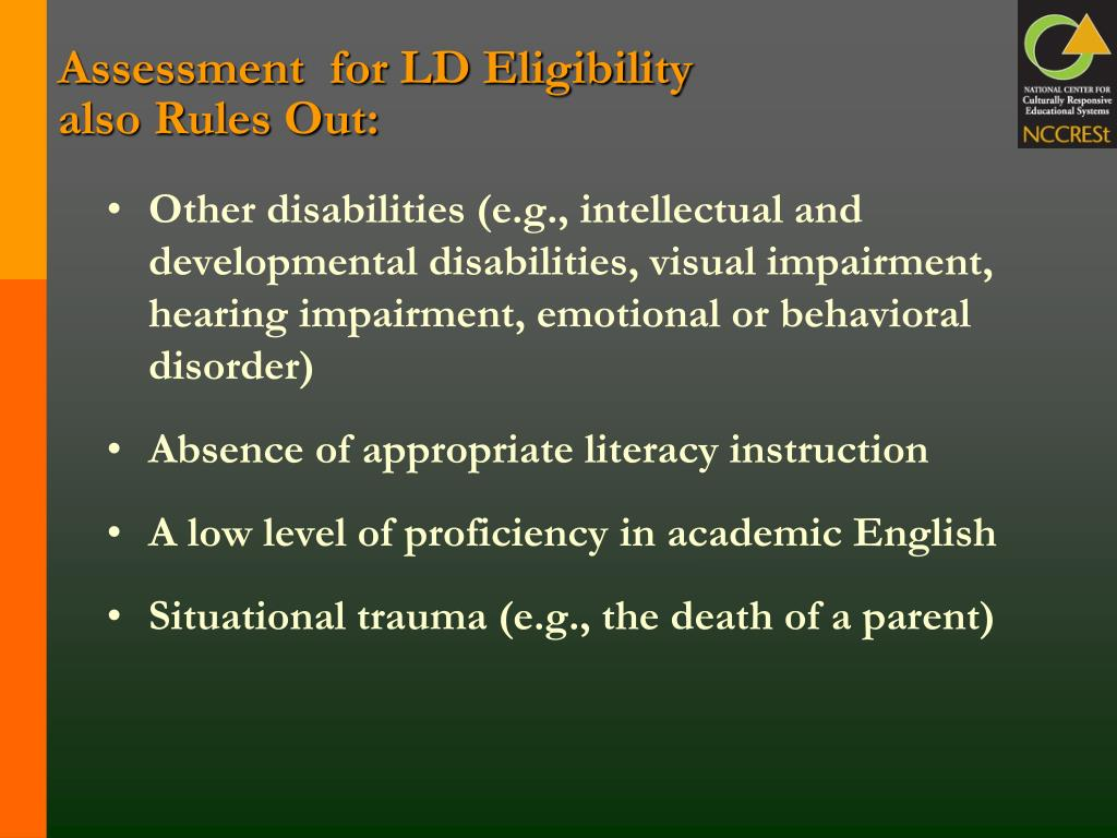 Assessment  for LD Eligibility