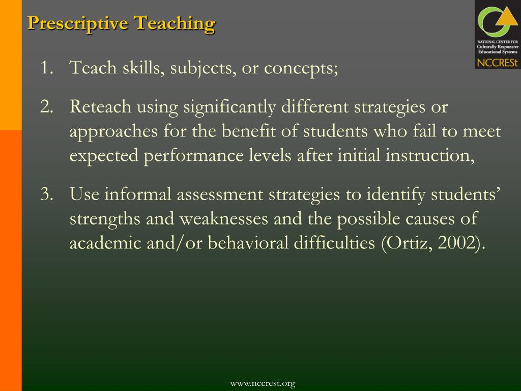 Prescriptive Teaching