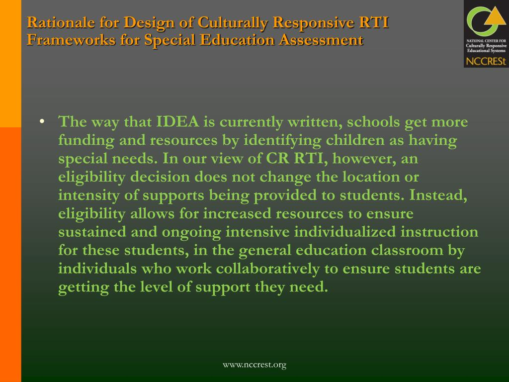 Rationale for Design of Culturally Responsive RTI Frameworks for Special Education Assessment