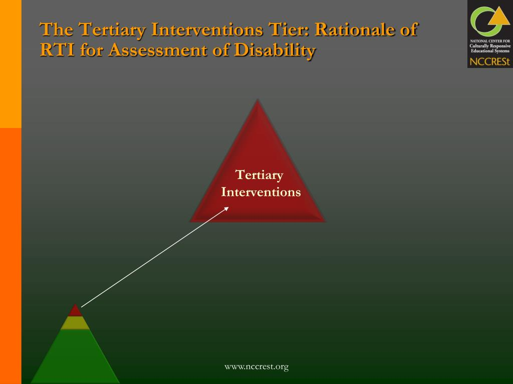 The Tertiary Interventions Tier: Rationale of RTI for Assessment of Disability