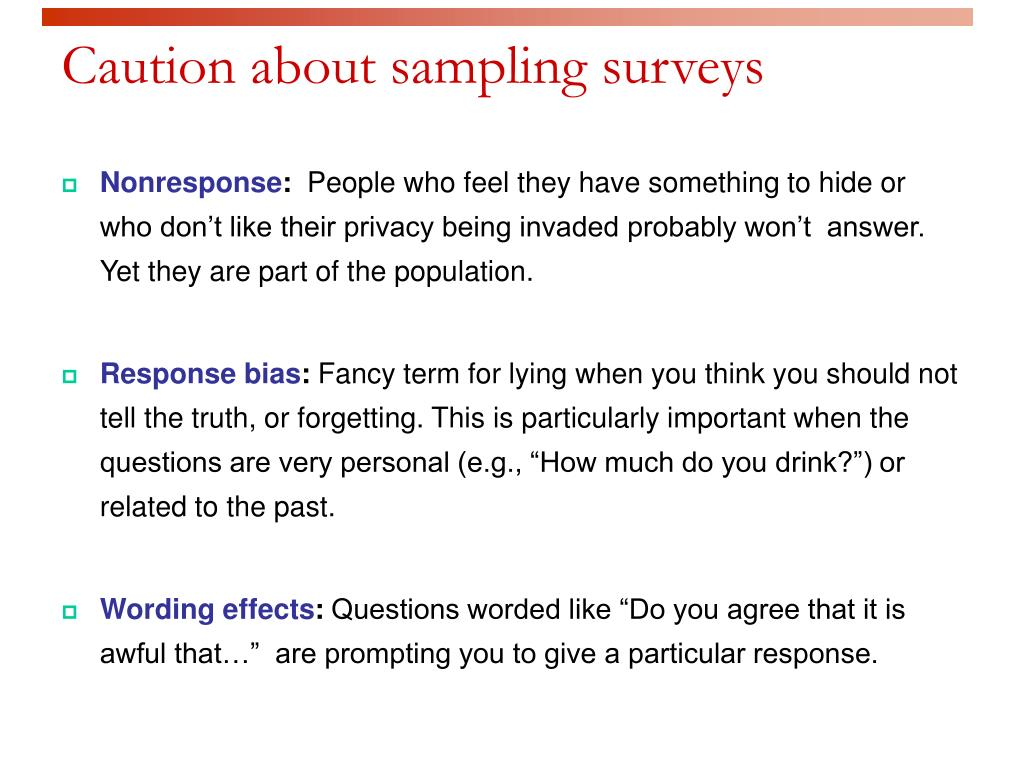 Caution about sampling surveys