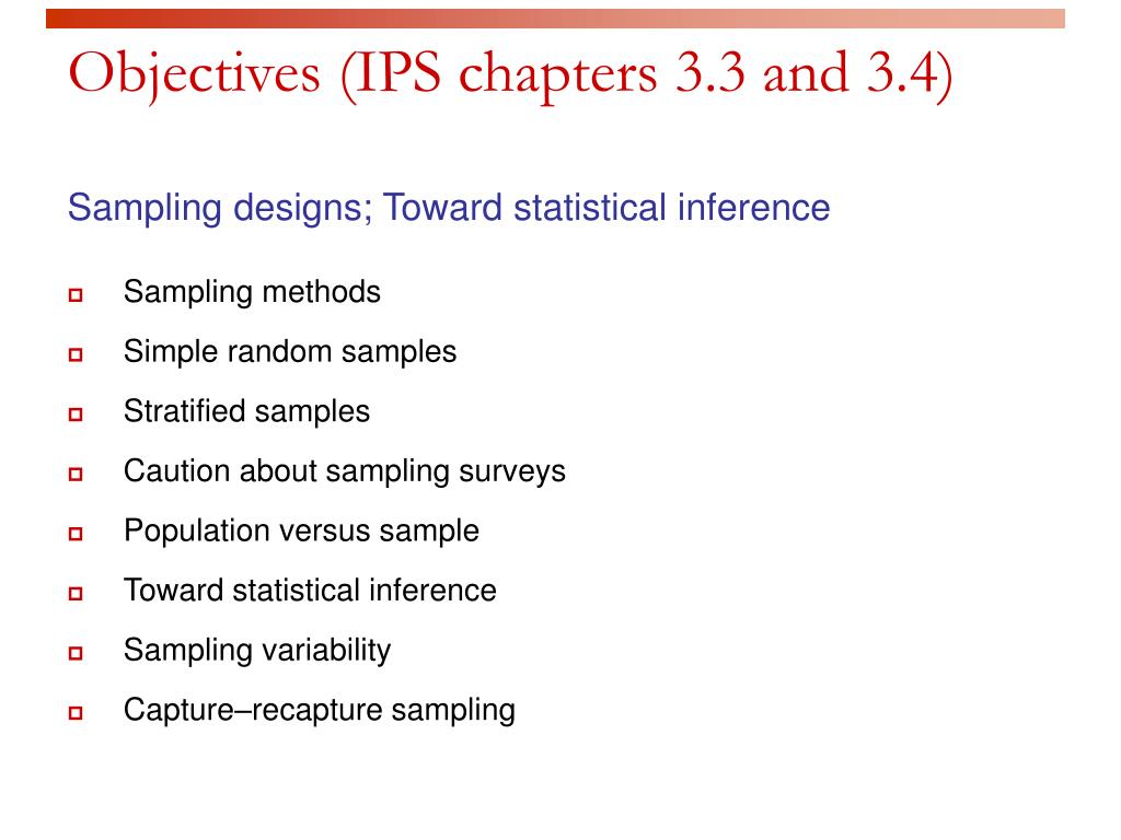 Objectives (IPS chapters 3.3 and 3.4)