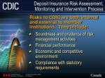 deposit insurance risk assessment monitoring and intervention process7
