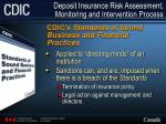 deposit insurance risk assessment monitoring and intervention process8