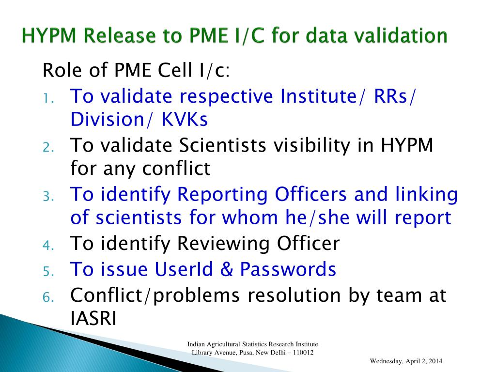 HYPM Release to PME I/C for data validation