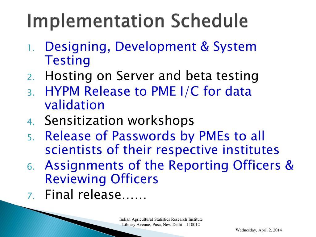 Implementation Schedule